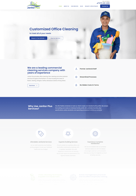Web design for cleaning companies Janitor Plus