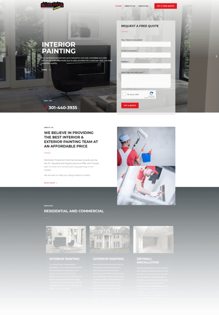 Web Design for painting companies Manhattan Production Painting