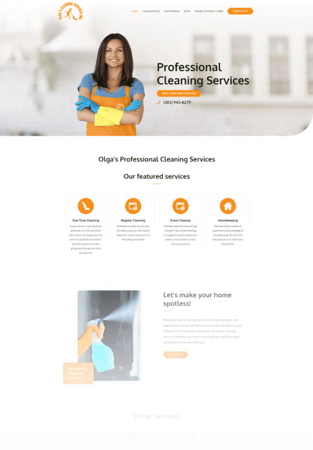 Marketing for cleaning business Olga's Cleaning Services Inc.