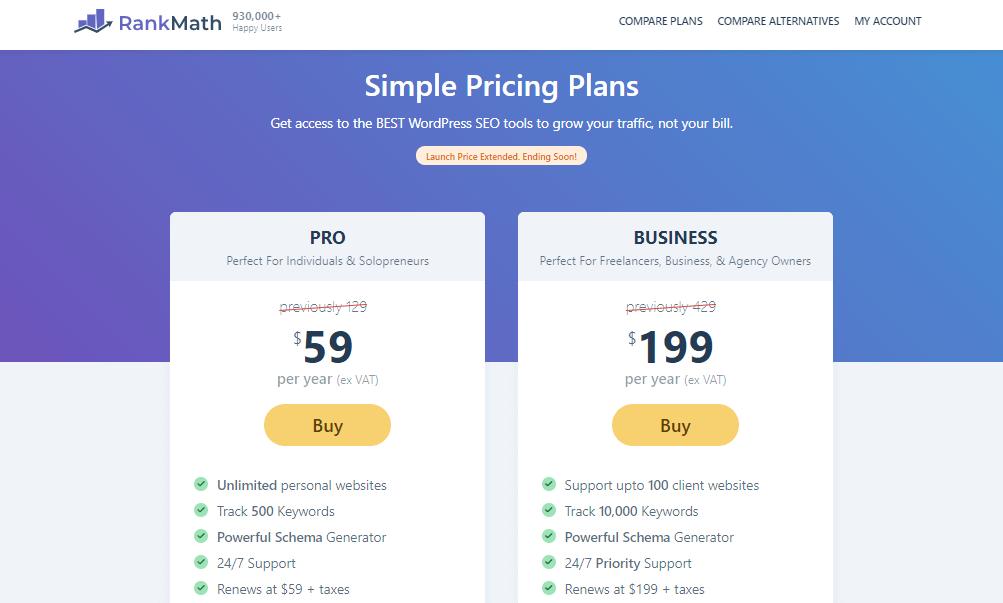 Rank Math SEO pricing