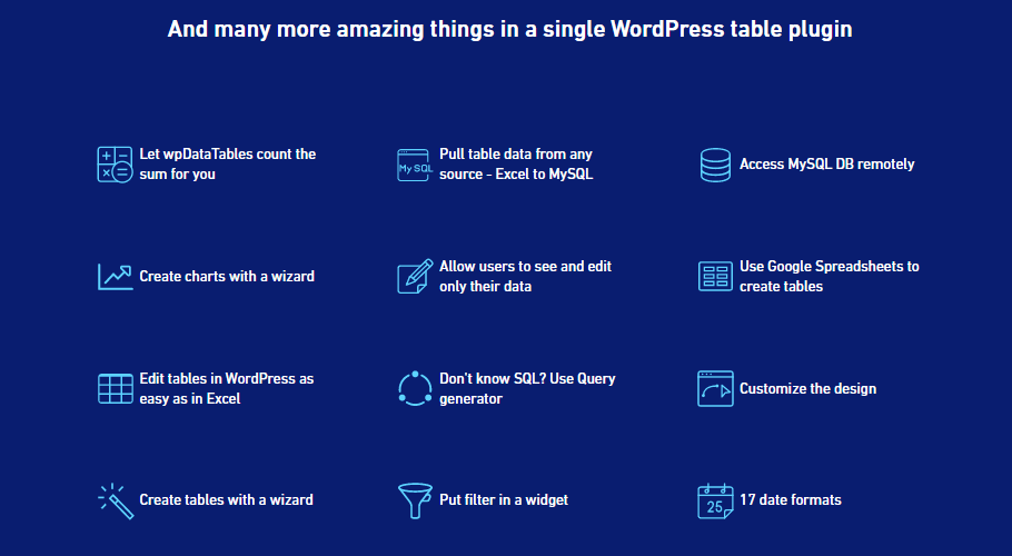 WPDataTables features
