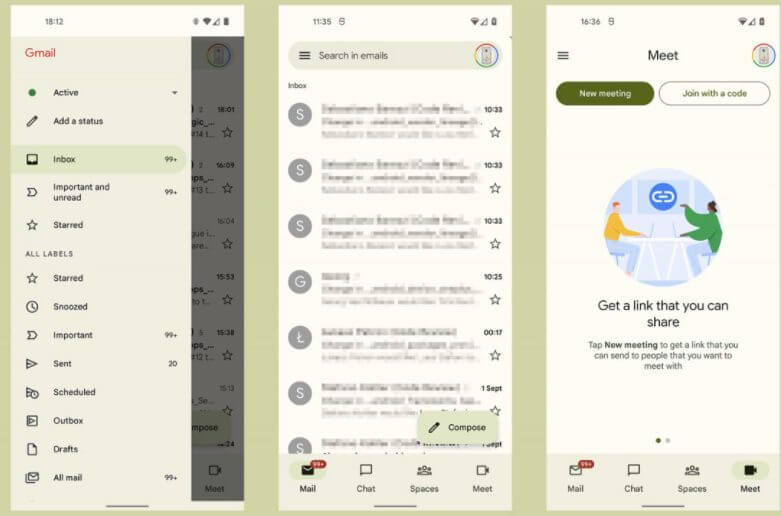 Android 12 beta brings in new changes in Gmail's design