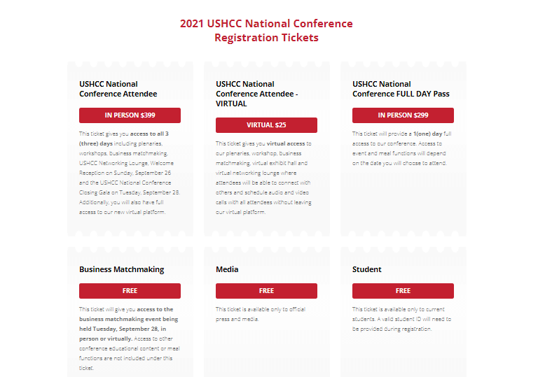 USHCC registration tickets are available on the official website